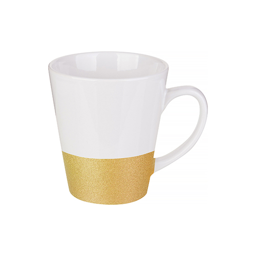 Latte mug 300 ml with a glitter strap for sublimation printing - gold