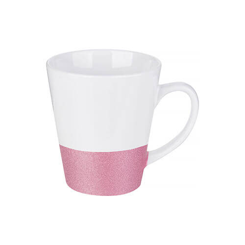 Latte mug 300 ml with a glitter strap for sublimation printing - pink