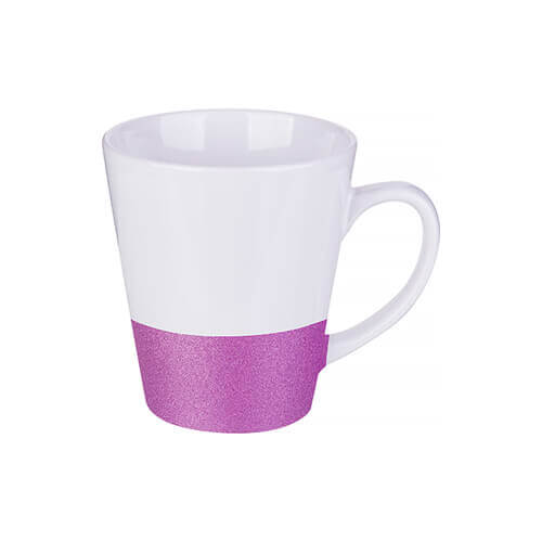 Latte mug 300 ml with a glitter strap for sublimation printing - purple