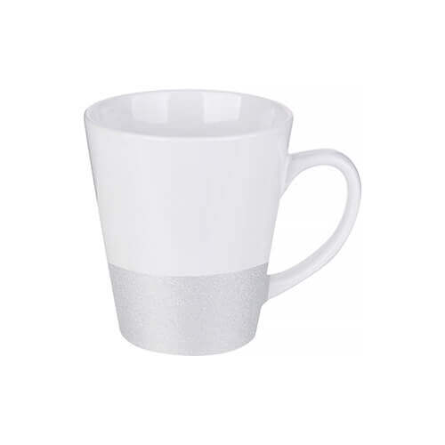 Latte mug 300 ml with a glitter strap for sublimation printing - silver