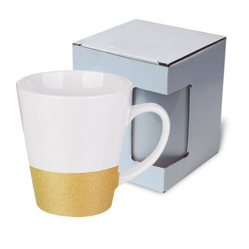Latte mug 300 ml with a glitter strap for sublimation printing with box KAR3 - gold