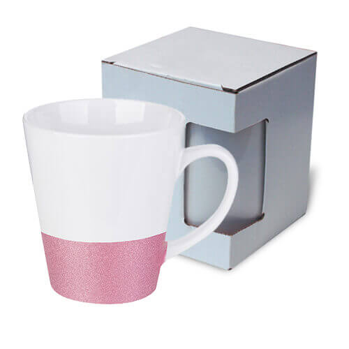 Latte mug 300 ml with a glitter strap for sublimation printing with box KAR3 - pink