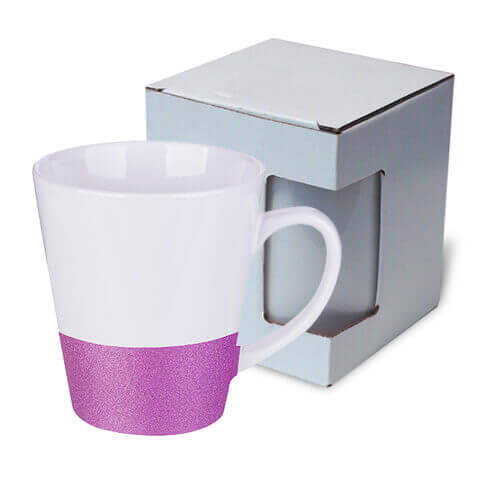 Latte mug 300 ml with a glitter strap for sublimation printing with box KAR3 - purple