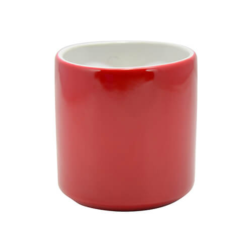 Magic mug for couples with eyelet in the shape of heart for sublimation printing - red