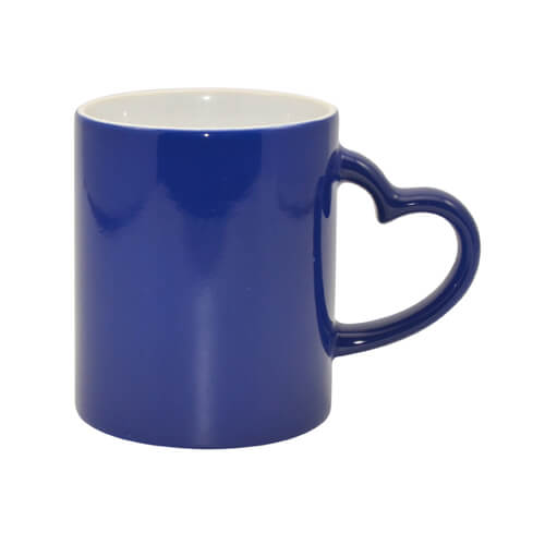 Magic mug with heart shaped handle blue Sublimation Thermal Transfer