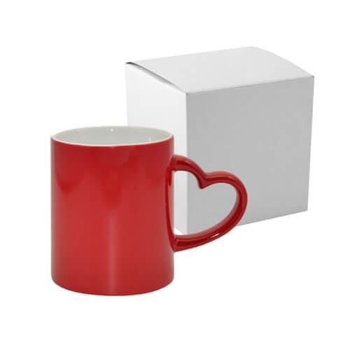 Magic mug with heart shaped handle red with box Sublimation Thermal Transfer