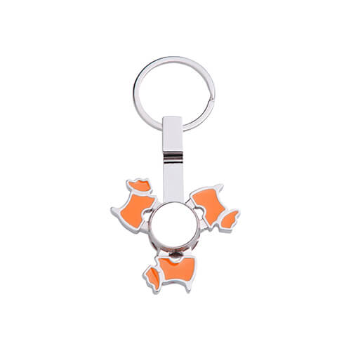 Metal keyring - spinner for sublimation - Dog - orange