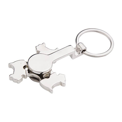 Metal keyring - spinner for sublimation - Dog - yellow