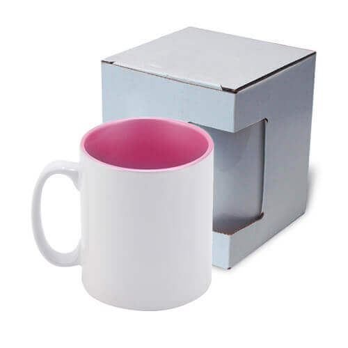 Mug 300 ml with pink metalic interior with box Sublimation Thermal Transfer