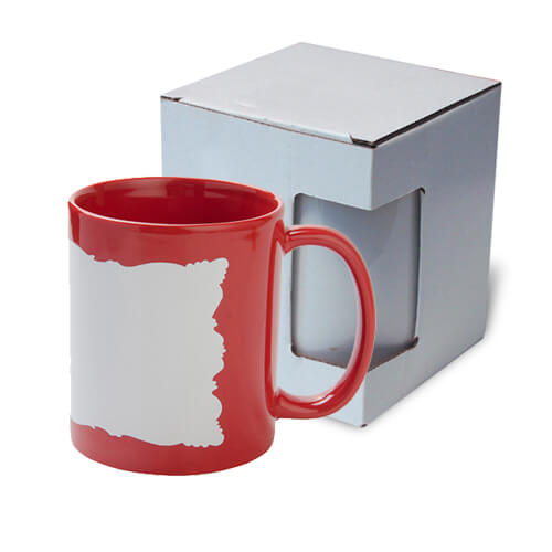 Mug 330 ml with sublimation frame - red with cardboard box