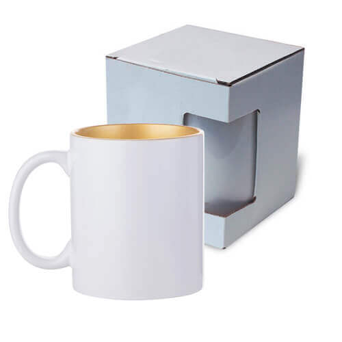Mug 330ml with gold interior with box Sublimation Thermal Transfer