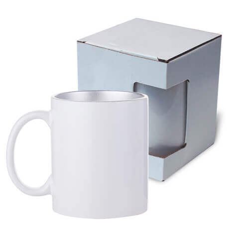 Mug 330ml with silver interior with box Sublimation Thermal Transfer