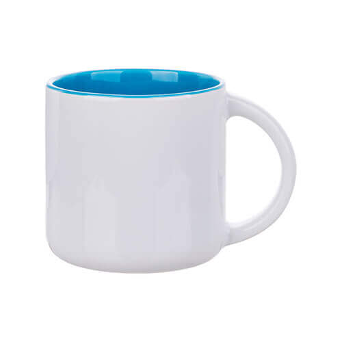 Mug 400 ml with light blue interior for sublimation printing