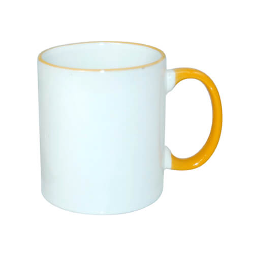 Mug A+ 330 ml with golden-yellow handle Sublimation Thermal Transfer