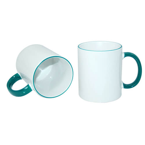 Mug A+ 330 ml with green handle Sublimation Thermal Transfer