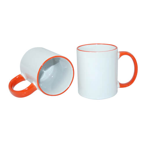 Mug A+ 330 ml with orange handle Sublimation Thermal Transfer