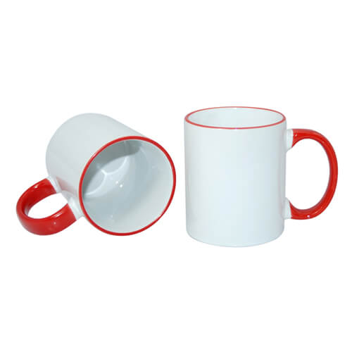 Mug A+ 330 ml with red handle Sublimation Thermal Transfer