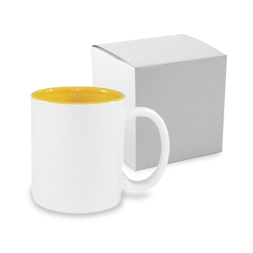 Mug ECO 330 ml with golden yellow interior with box Sublimation Thermal Transfer