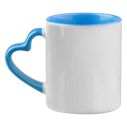 Mug Funny with heart-shaped handle - light blue