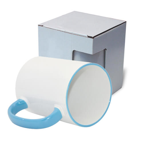 Mug MAX A+ 450 ml with light blue handle with box KAR5 Sublimation Thermal Transfer