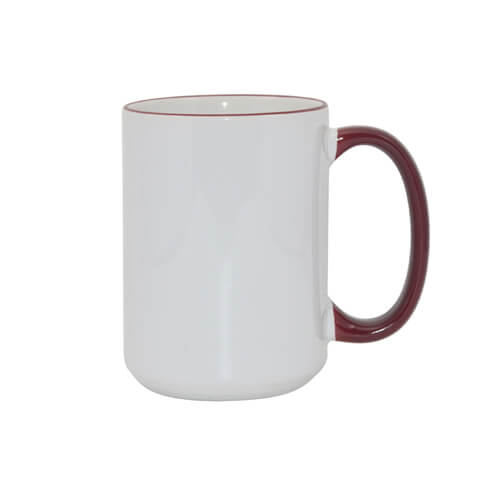 Mug MAX A+ 450 ml with maroon handle Sublimation Thermal Transfer