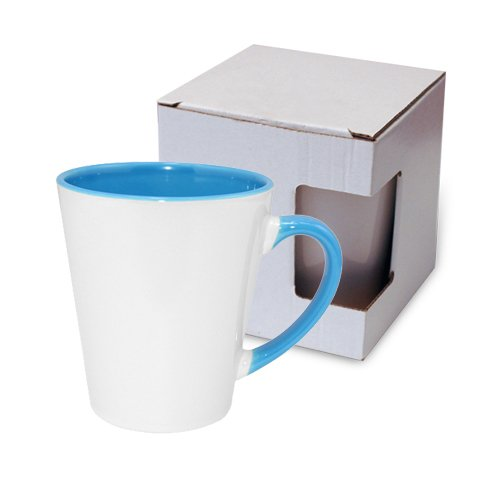 Small FUNNY Latte mug light blue with box KAR3 Sublimation Thermal Transfer