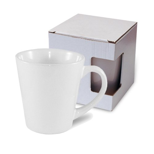 Small Latte mug JS Coating white  with box KAR3 Sublimation Thermal Transfer