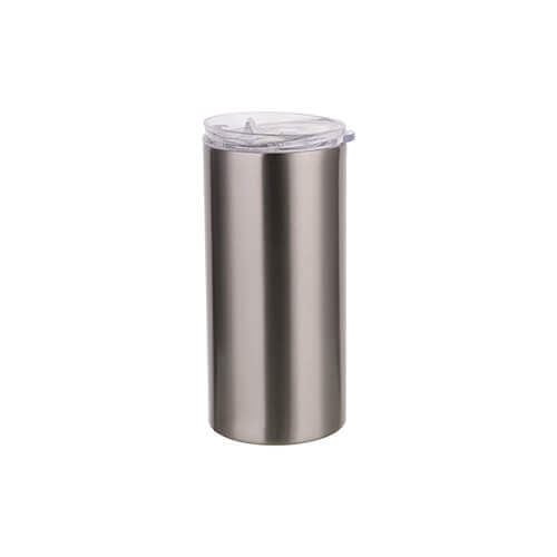 Thermal tumbler 480 ml with straw for sublimation - silver