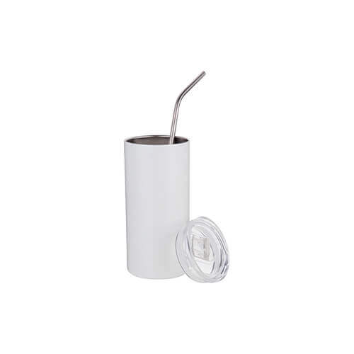 Thermal tumbler 480 ml with straw for sublimation - white