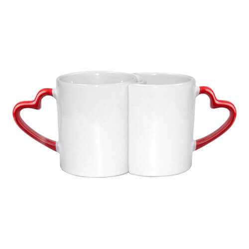 Two mugs with red, heart-shaped handle