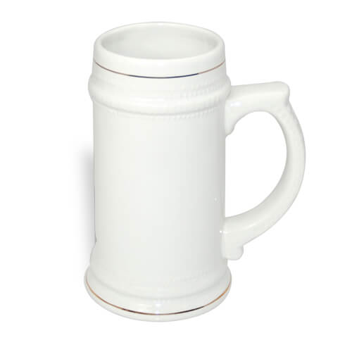 White beer mug with gold ornament Sublimation Thermal Transfer