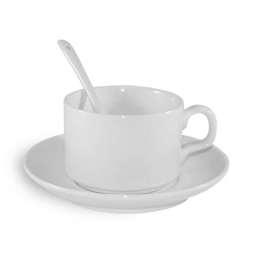White cup with saucer and teaspoon A+ Sublimation Thermal Transfer