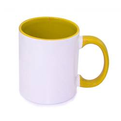 Mug JS Coating 330 ml FUNNY jaune or Sublimation Transfert Thermique