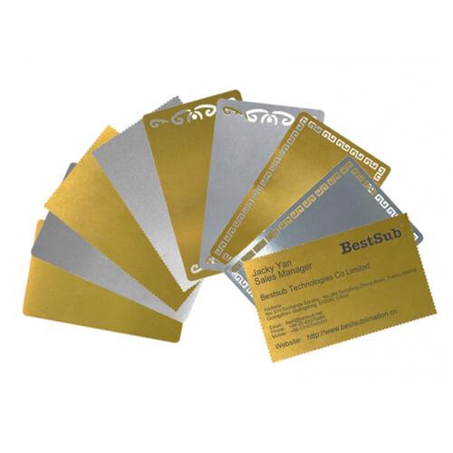 Cartes De Visite Metalliques Lot 10 Pieces Sublimation Transfert Thermique