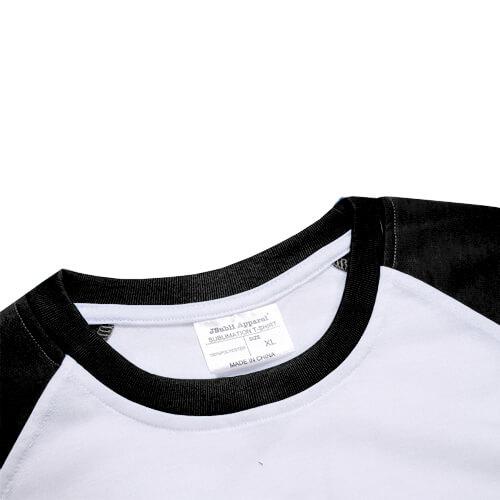 t shirt blanc manches noires jsubli apparel sublimation transfert thermique noir textiles. Black Bedroom Furniture Sets. Home Design Ideas