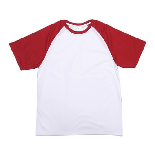 t shirt blanc manches rouges jsubli apparel sublimation transfert thermique rouge textiles. Black Bedroom Furniture Sets. Home Design Ideas